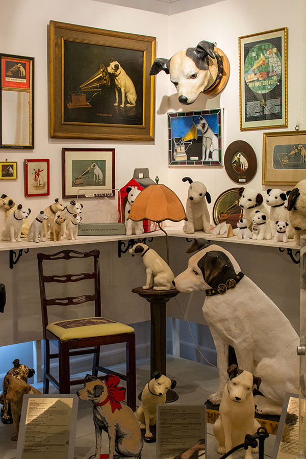 A corner of Nipper artifacts at the Johnson Victrola Museum.