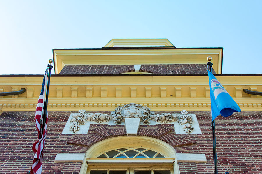 The exterior of the Kent County Courthouse, seen from below.