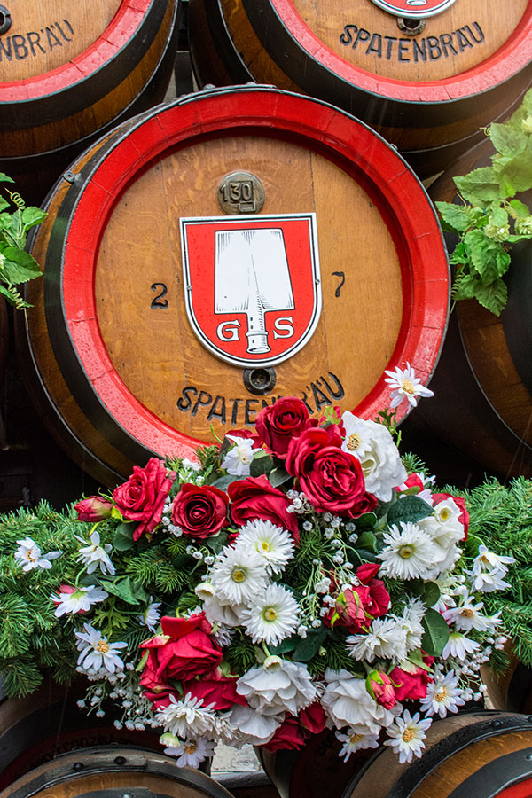 Close up of a Spaten beer keg on a float for the parade into Munich Frühlingsfest.