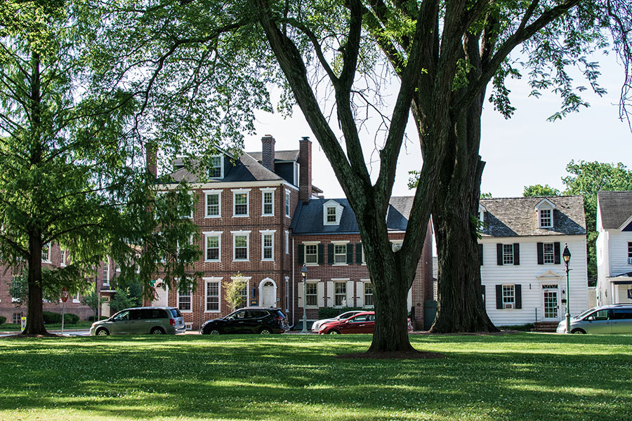 Historic buildings line The Dover Green.