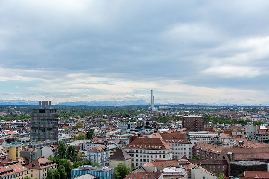 A view over southern Munich from the Alter Peter Tower.
