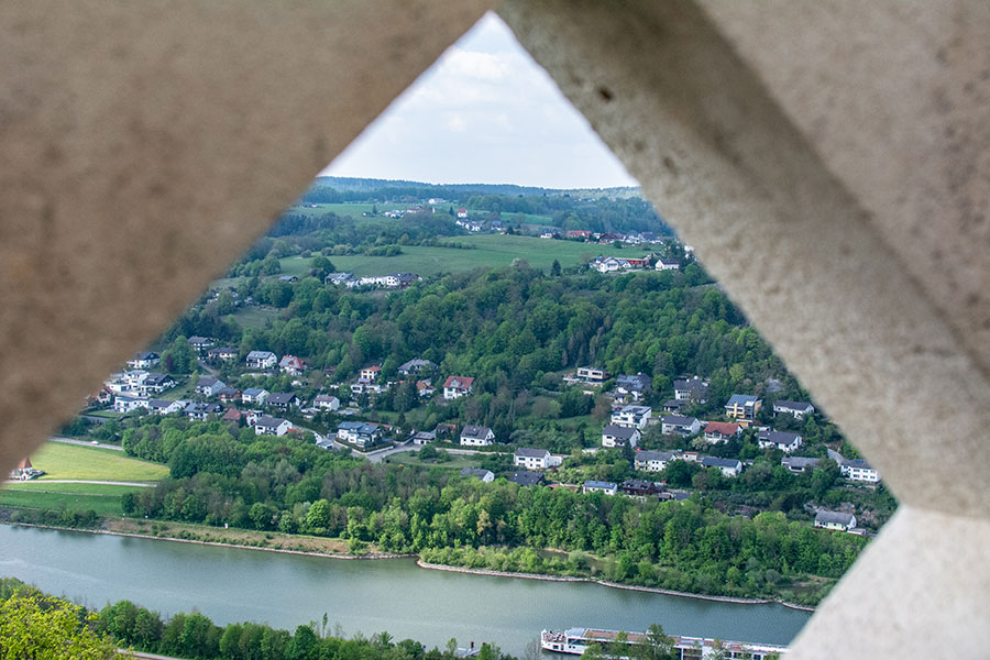 A view over Germany's Danube River Valley from the top of the Liberation Hall Kelheim.
