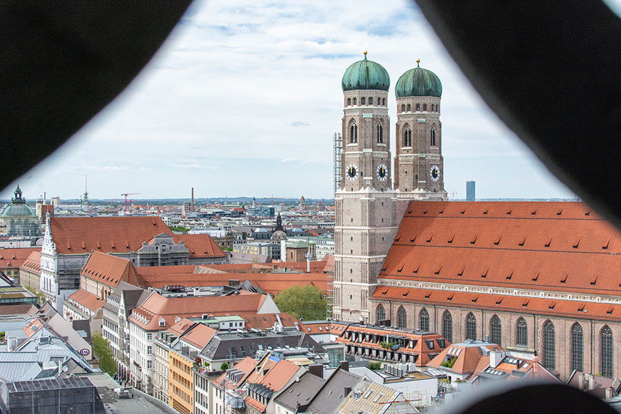 A peek at the Frauenkirche from Alter Peter's tower.
