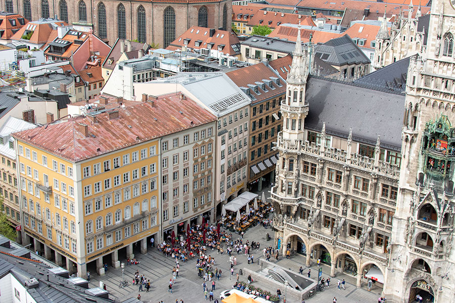 A peek onto Marienplatz from Alter Peter's tower.