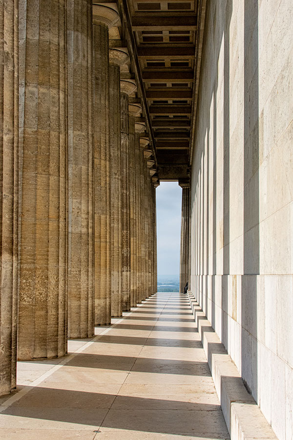 Columns stand in a line outside of Walhalla.