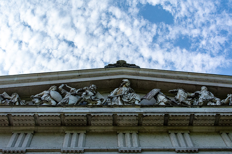 A close up of the pediment on one side of Walhalla.