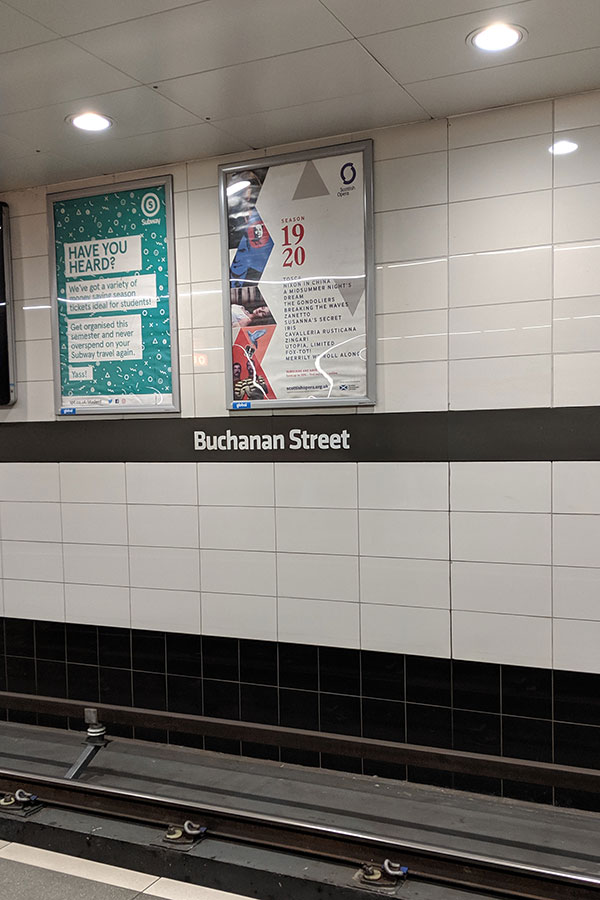 Buchanan Street subway station in Glasgow, Scotland.