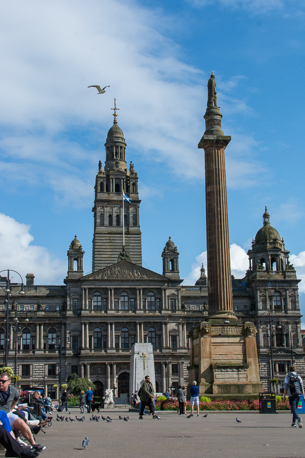 George Square in the center of Glasgow, Scotland.