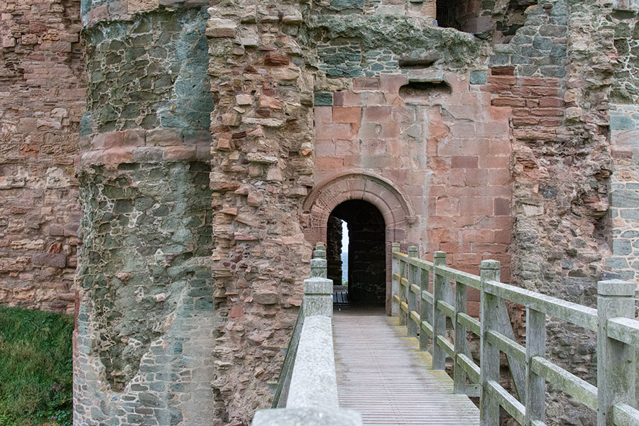 An entrance leads into the ruins of Tantallon Castle.