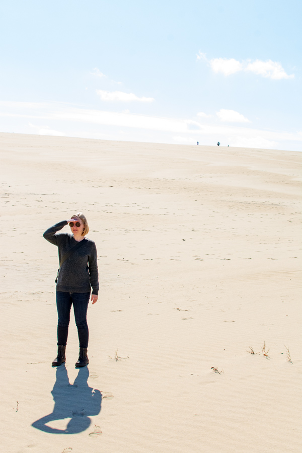 Exploring the sand dunes of Jockey's Ridge State Park in Waldlaufer boots.
