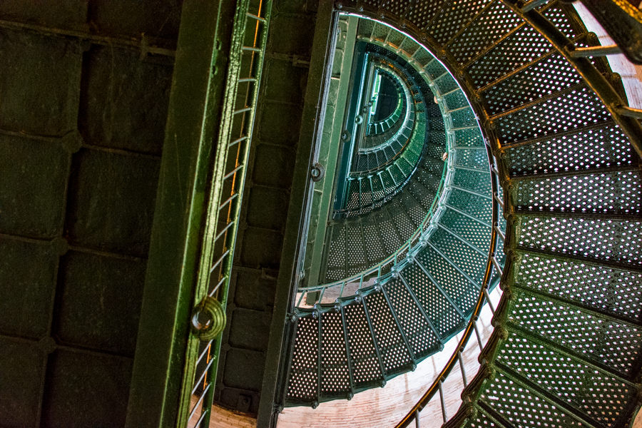 Looking up at the spiral staircases inside the lighthouse.