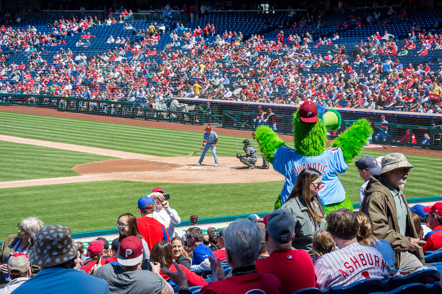 Spring in Philadelphia means baseball! The Phillie Phanatic cheers the team on.
