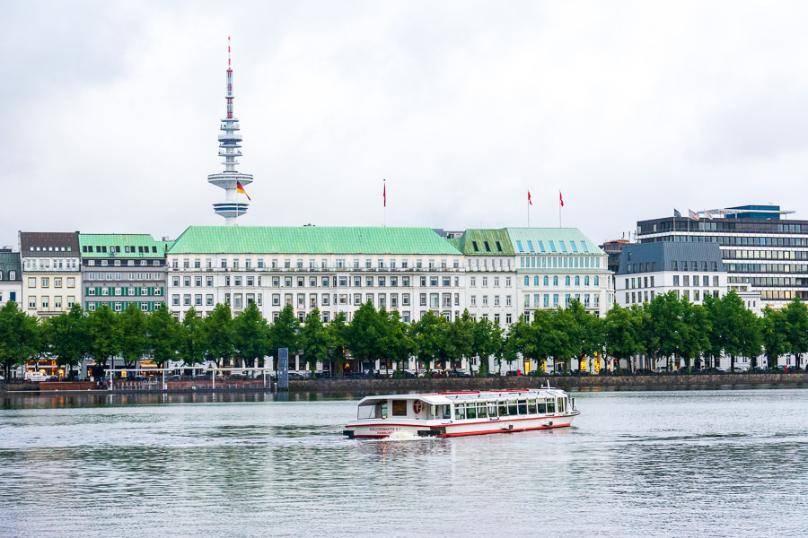Popular things to do in Hamburg include a visit to the iconic Binnenalster lake.