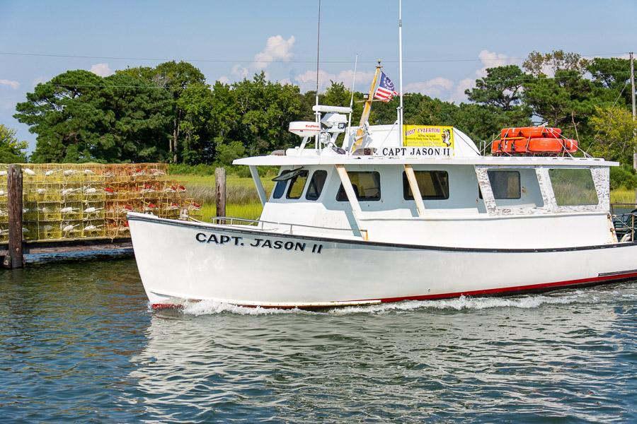 The boat Captain Jason II sails into Smith Island.