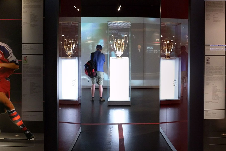 FC Bayern Erlebniswelt Museum lets fans get up close to trophies.