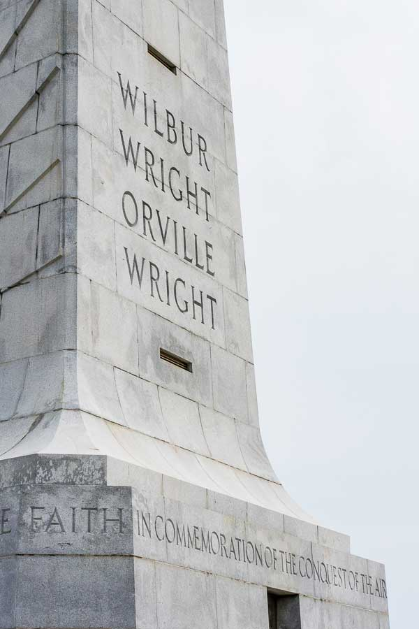 Close up of the Wright Brothers National Memorial in Kitty Hawk, North Carolina.