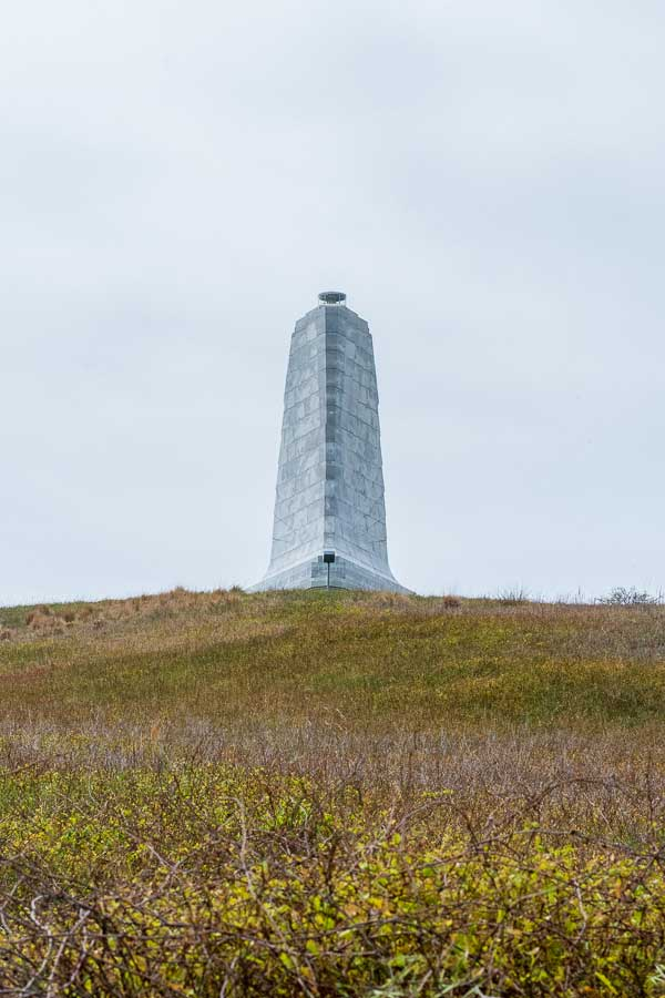 The Wright Brothers Memorial sits upon a hill in Kitty Hawk, North Carolina.