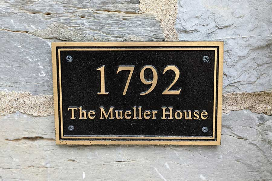 A plaque dates the Mueller House in Lititz to 1792.