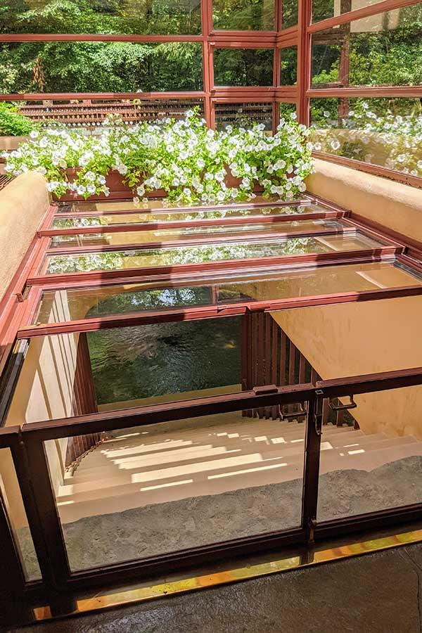 Steps inside Fallingwater lead directly in to Bear Run.