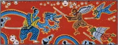 """Bushi no Jojishi ( Samurai Epic ) 14"""" x 36 """" mixed media on metal box panel"""