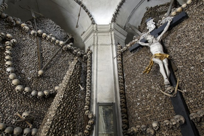 Kolin, Czech Republic, 18th century charnel house featuring a life sized crucifixion