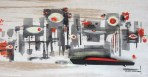 Michelle Bickford - Spy City Seeing Red - acrylic on cut and shaped masonite, 7×3.5″ (15.5×12″ framed)