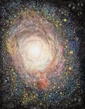 Howard Hallis – M94 Emoji Galaxy Lenticular lens of original color pencil and marker drawing, 22×28