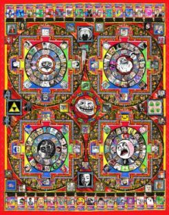 Howard Hallis – Meme Mandala Lenticular lens of original color pencil and marker drawing, 22×28″