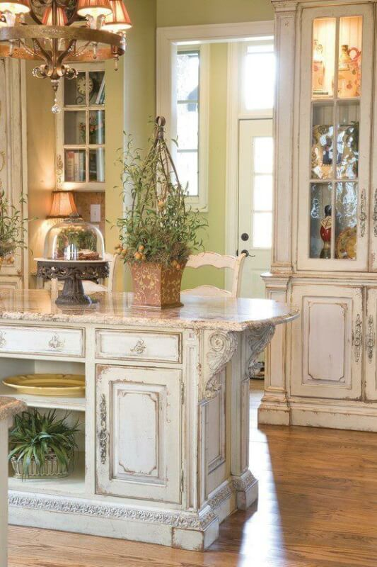 Antique White Paneled Kitchen Cabinets With Dark Island