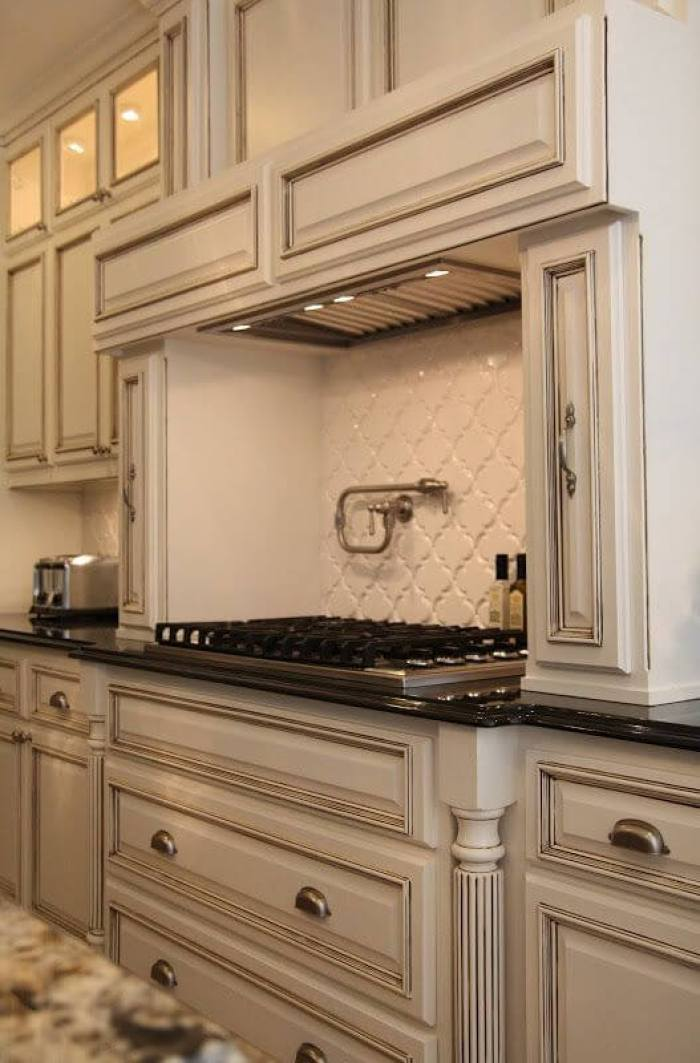 Off White Painted Glazed Kitchen Cabinet Ideas