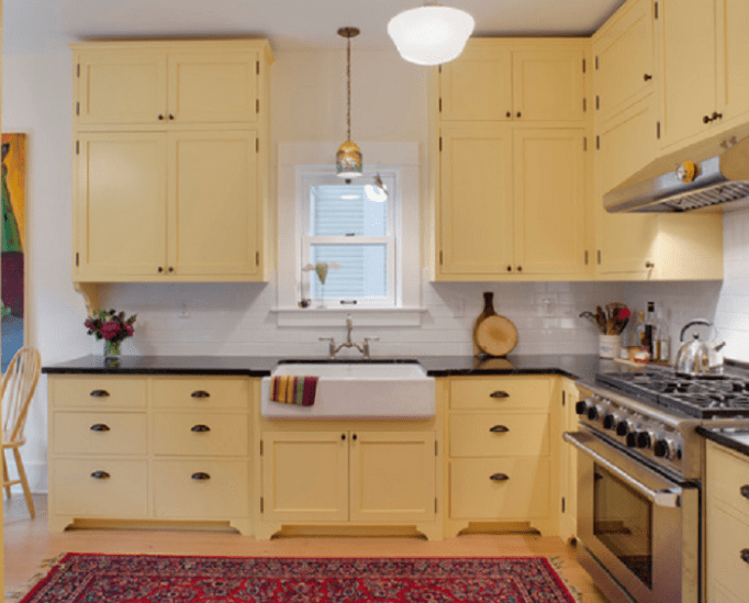 yellow kitchens with oak cabinets