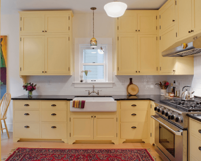 yellow kitchens with oak cabinets - Yellow Kitchen