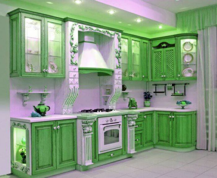 15 green kitchen cabinets design photos ideas inspiration for Green kitchen cabinets for eco friendly homeowners