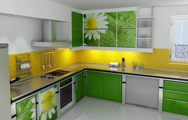 Elegant Yellow and Green Kitchen