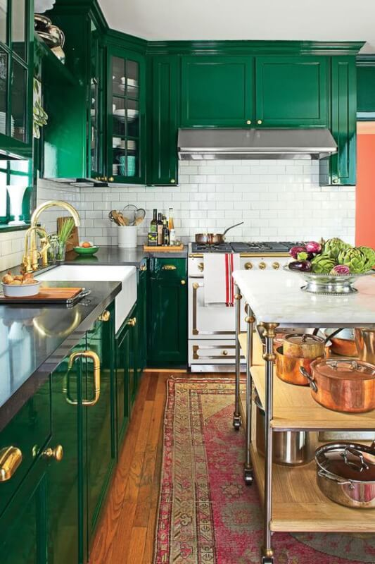 Charmant Green Kitchen Cabinets Design