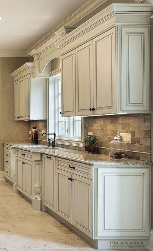 Distressed White Kitchen Cabinets Antique ...