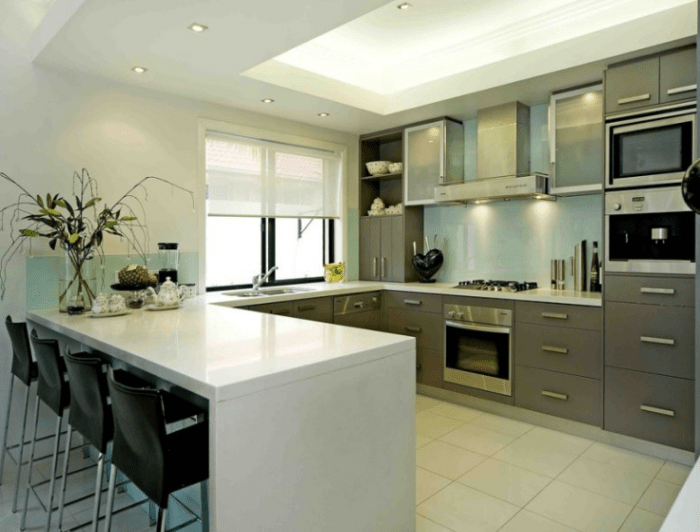 U Shape Kitchen Designs With Breakfast Bar