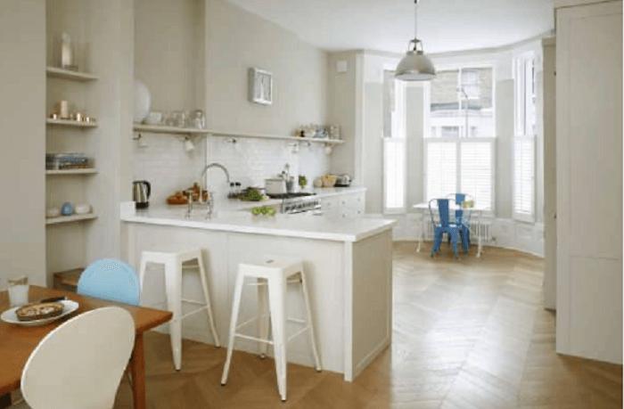 White L Shaped Kitchen Design