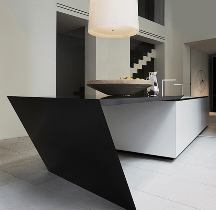 black and white kitchens with a splash of colour