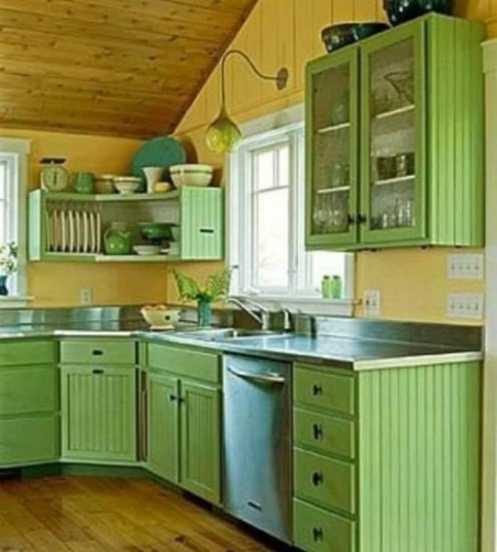 Green Kitchen Cupboard Paint