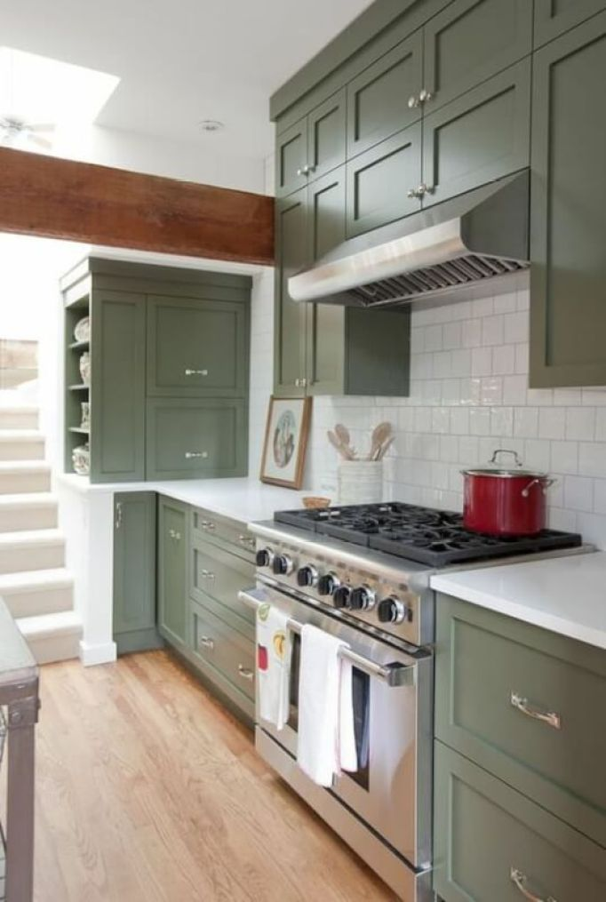 Green Kitchen Cabinets Design Photos Ideas Inspiration - Green and grey kitchen ideas