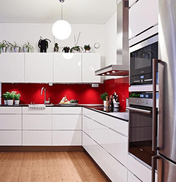 Splashback Ideas For White Kitchens Part - 48: Red Splashback White Kitchen Ideas. Red Kitchen Splashback