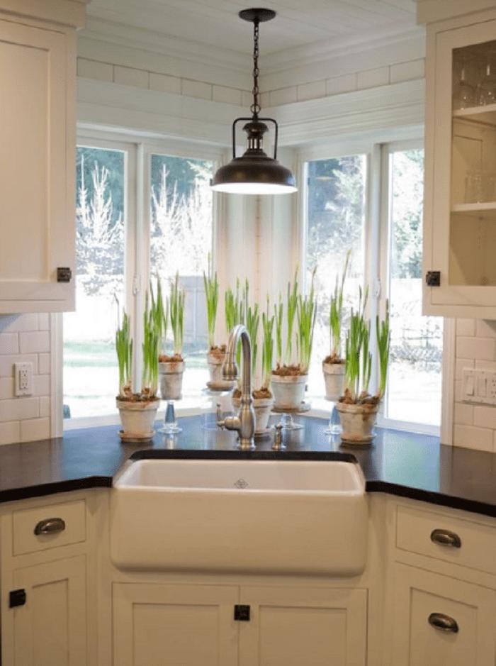 Athen White Kitchen Sink Corner