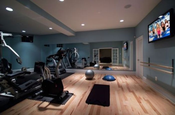 Basement Home Theater with Workout Room