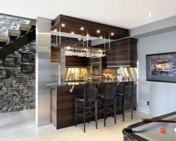 Modern Basement Bar Counter Tops