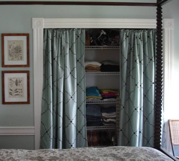 Closet door ideas with curtains