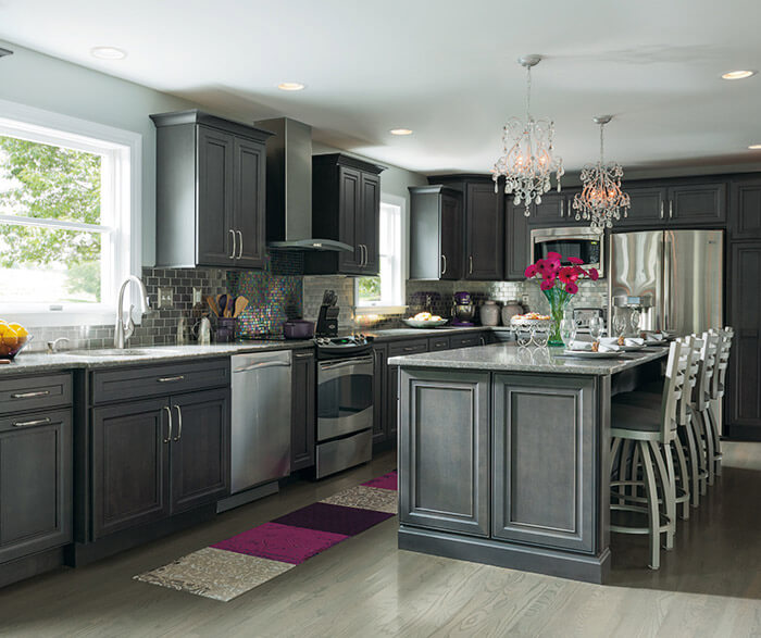 dark gray stained kitchen cabinets