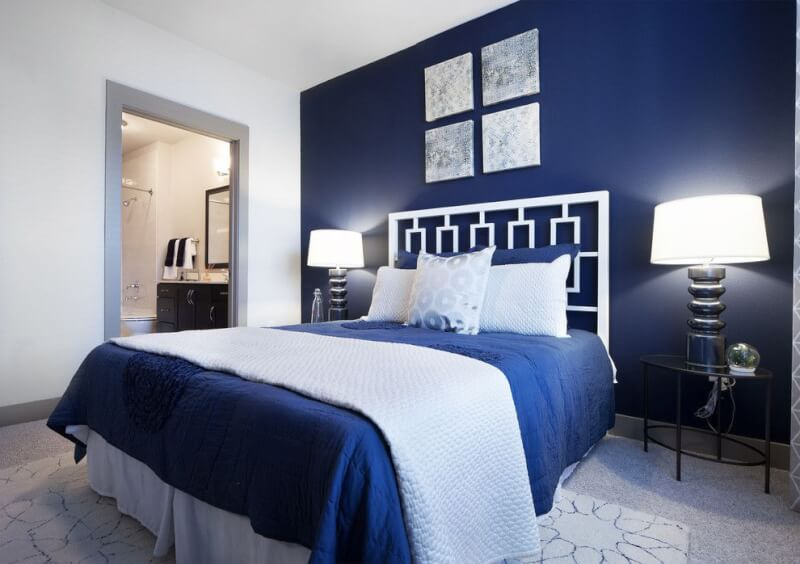 Charming Navy Blue Bedroom Design