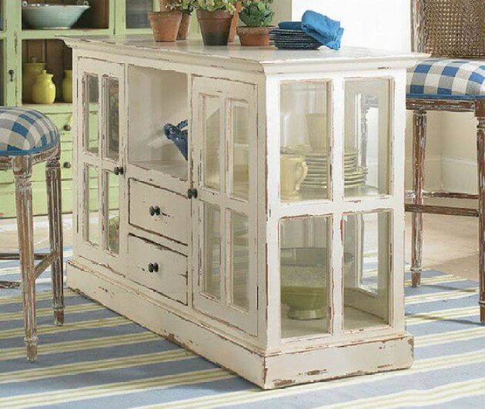 White Rustic Kitchen Cabinet with Glass Cabinets