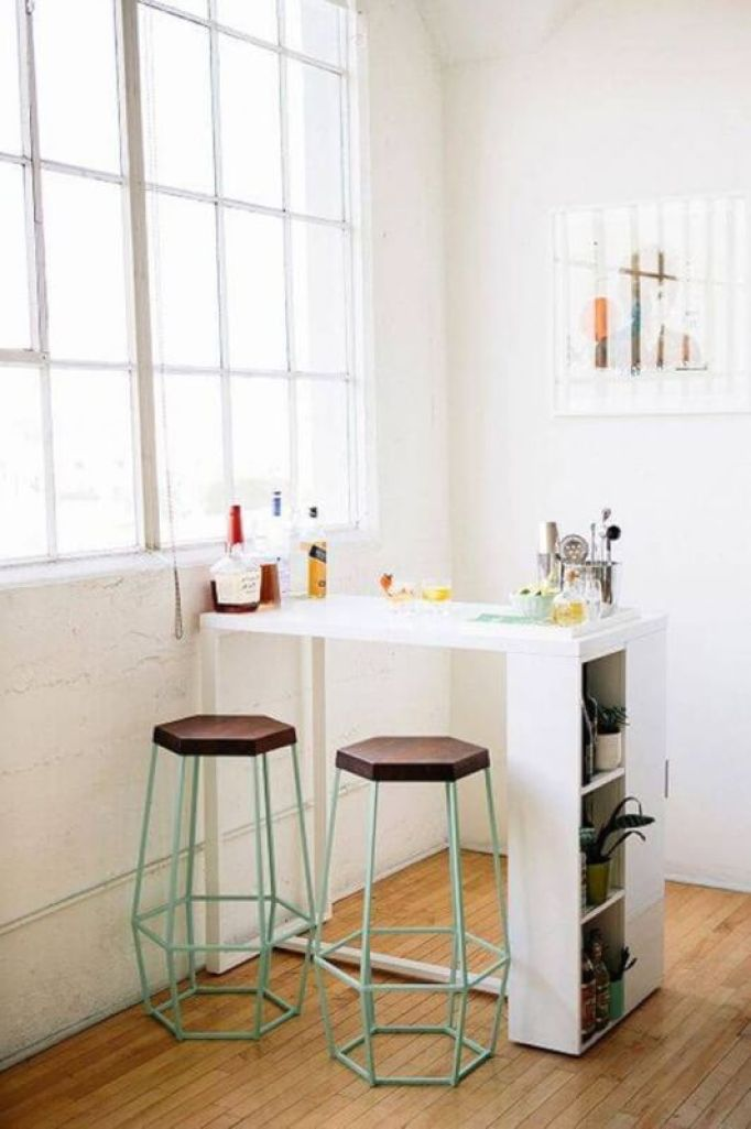 White Small Kitchen Table with Racks